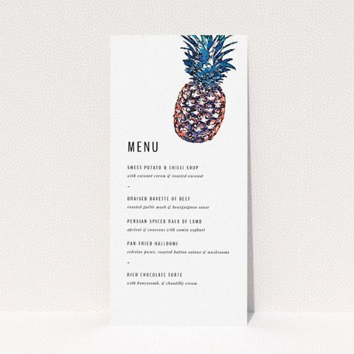 """A wedding menu card template titled """"One little pineapple"""". It is a tall (DL) menu in a portrait orientation. """"One little pineapple"""" is available as a flat menu, with tones of white and green."""