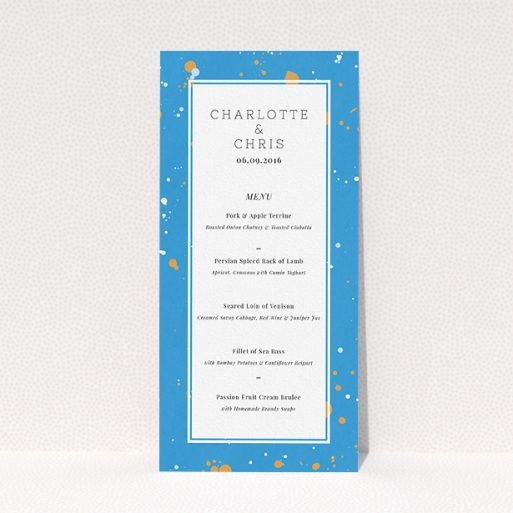 "A wedding menu card design titled ""Orange Splatters"". It is a tall (DL) menu in a portrait orientation. ""Orange Splatters"" is available as a flat menu, with tones of light blue and orange."