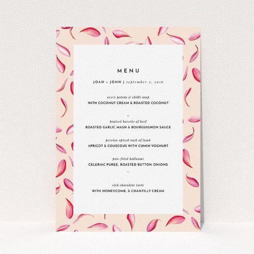 "A wedding menu card template titled ""Petal avalanche"". It is an A5 menu in a portrait orientation. ""Petal avalanche"" is available as a flat menu."