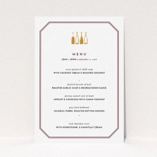 """A wedding menu card called """"See you at the reception"""". It is an A5 menu in a portrait orientation. """"See you at the reception"""" is available as a flat menu, with tones of burgundy and gold."""