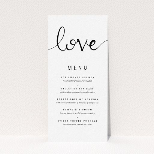 """A wedding menu card design called """"Simply Love"""". It is a tall (DL) menu in a portrait orientation. """"Simply Love"""" is available as a flat menu, with tones of white and black."""