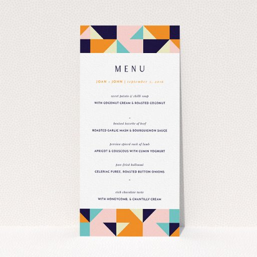 """A wedding menu card named """"Sloane Squares"""". It is a tall (DL) menu in a portrait orientation. """"Sloane Squares"""" is available as a flat menu, with mainly orange colouring."""