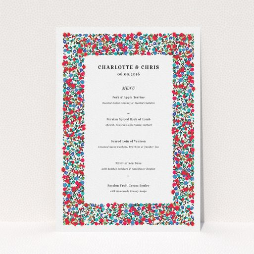 """A wedding menu card called """"Summer from a distance"""". It is an A5 menu in a portrait orientation. """"Summer from a distance"""" is available as a flat menu, with tones of white and red."""