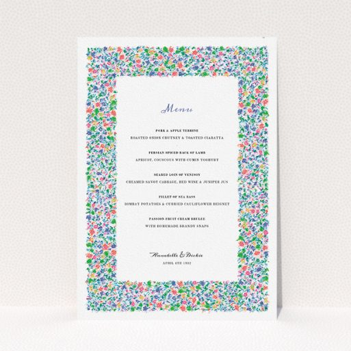 """A wedding menu card design named """"The faraway garden"""". It is an A5 menu in a portrait orientation. """"The faraway garden"""" is available as a flat menu, with tones of white and green."""