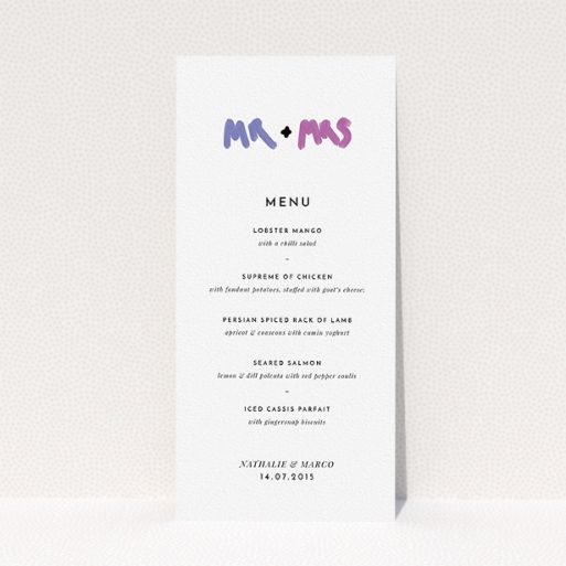 """A wedding menu card design named """"The New Mr and Mrs"""". It is a tall (DL) menu in a portrait orientation. """"The New Mr and Mrs"""" is available as a flat menu, with tones of white and blue."""