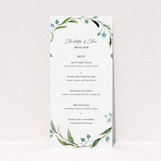"""A wedding menu card design titled """"Thin Watercolour Wreath"""". It is a tall (DL) menu in a portrait orientation. """"Thin Watercolour Wreath"""" is available as a flat menu, with tones of blue and green."""