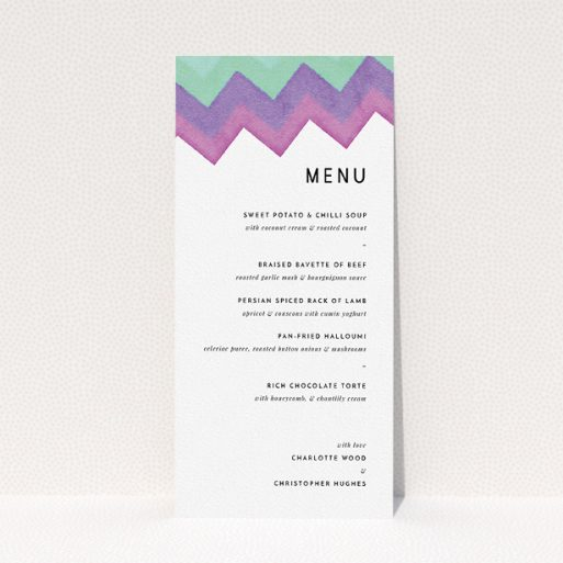 """A wedding menu card design named """"Vibrant Peaks"""". It is a tall (DL) menu in a portrait orientation. """"Vibrant Peaks"""" is available as a flat menu, with tones of white, green and purple."""