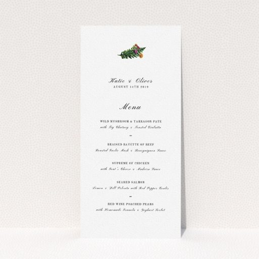 """A wedding menu card design named """"Winter Bouquet"""". It is a tall (DL) menu in a portrait orientation. """"Winter Bouquet"""" is available as a flat menu, with tones of white and green."""