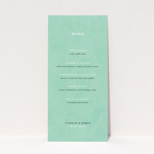 """A wedding menu card named """"Worn Green"""". It is a tall (DL) menu in a portrait orientation. """"Worn Green"""" is available as a flat menu, with tones of green and white."""