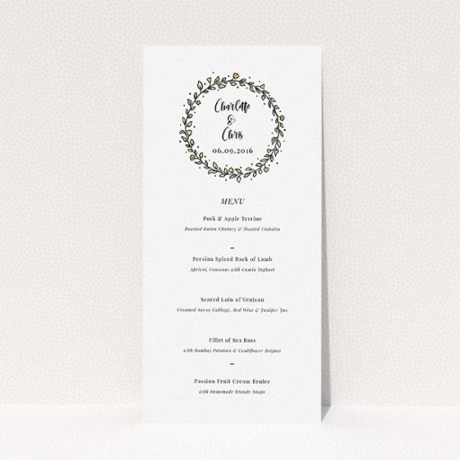 """A wedding menu card called """"Wreath Outline"""". It is a tall (DL) menu in a portrait orientation. """"Wreath Outline"""" is available as a flat menu, with tones of white and green."""
