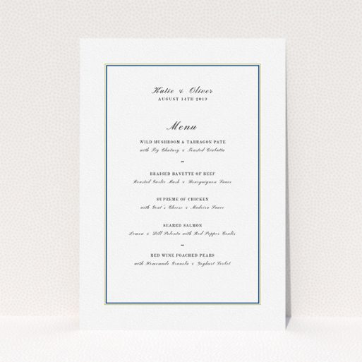 """A wedding menu card template titled """"Yellow Blue Simple"""". It is an A5 menu in a portrait orientation. """"Yellow Blue Simple"""" is available as a flat menu, with tones of white and Gold."""