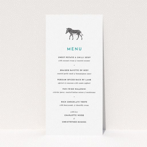 """A wedding menu card named """"Zebra crossing"""". It is a tall (DL) menu in a portrait orientation. """"Zebra crossing"""" is available as a flat menu, with tones of white and green."""