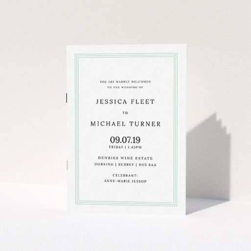 """A wedding order of service design named """"Classic Order of Service"""". It is an A5 booklet in a portrait orientation. """"Classic Order of Service"""" is available as a folded booklet booklet, with tones of green and white."""
