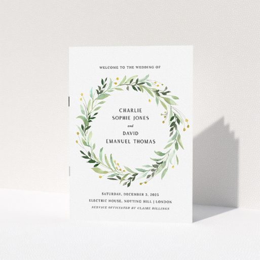 """A wedding order of service design named """"Marine Wreath Cover"""". It is an A5 booklet in a portrait orientation. """"Marine Wreath Cover"""" is available as a folded booklet booklet, with tones of ice blue, light green and yellow."""