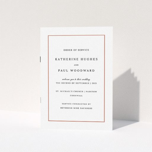 """A wedding order of service design called """"Ochre Border Traditional"""". It is an A5 booklet in a portrait orientation. """"Ochre Border Traditional"""" is available as a folded booklet booklet, with tones of white and red."""