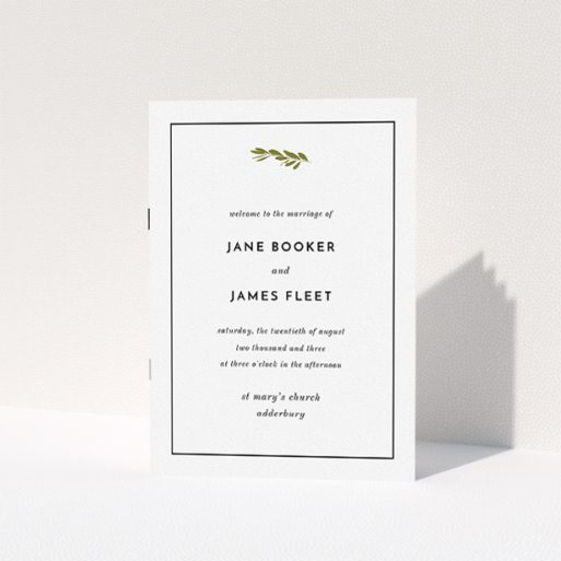 """A wedding order of service named """"Olive branch stamp"""". It is an A5 booklet in a portrait orientation. """"Olive branch stamp"""" is available as a folded booklet booklet, with tones of white and green."""