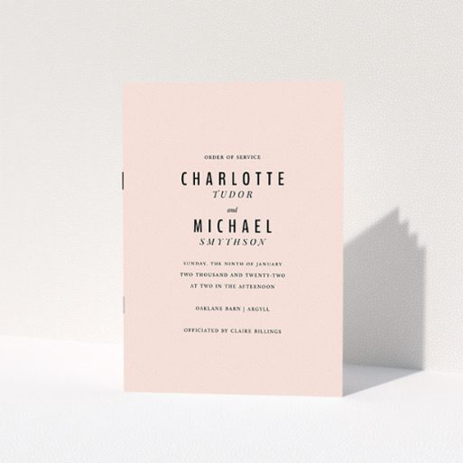 """A wedding order of service design titled """"Pink with Typography"""". It is an A5 booklet in a portrait orientation. """"Pink with Typography"""" is available as a folded booklet booklet, with mainly pink colouring."""