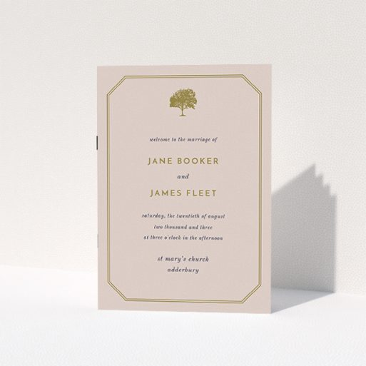 """A wedding order of service template titled """"Royal oak"""". It is an A5 booklet in a portrait orientation. """"Royal oak"""" is available as a folded booklet booklet, with mainly dark cream colouring."""