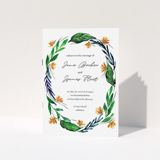 """A wedding order of service called """"Summer Whirl Wreath"""". It is an A5 booklet in a portrait orientation. """"Summer Whirl Wreath"""" is available as a folded booklet booklet, with tones of green, dark blue and orange."""