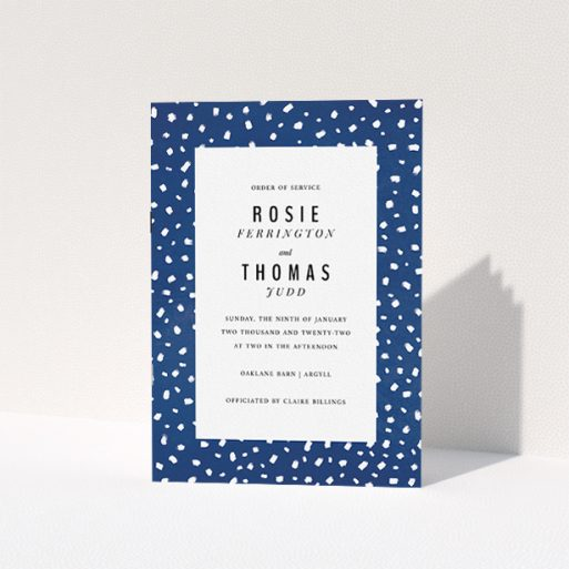 """A wedding order of service template titled """"White on Blue Polka dots"""". It is an A5 booklet in a portrait orientation. """"White on Blue Polka dots"""" is available as a folded booklet booklet, with mainly blue colouring."""