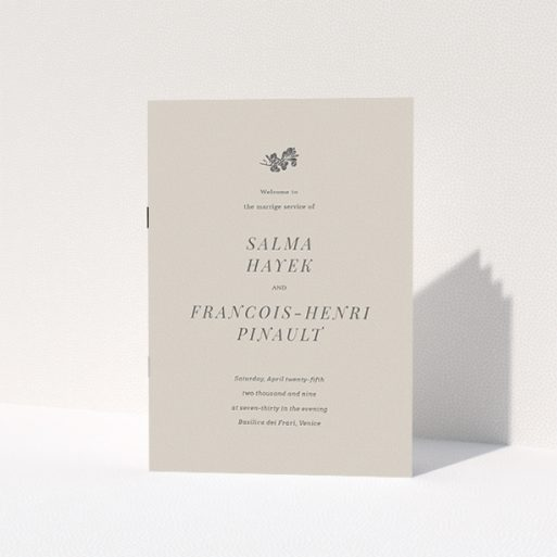 """A wedding order of service design called """"Woodland dusk"""". It is an A5 booklet in a portrait orientation. """"Woodland dusk"""" is available as a folded booklet booklet, with mainly dark cream colouring."""