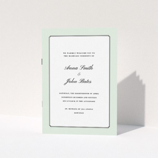 """A wedding program named """"Deco mint"""". It is an A5 booklet in a portrait orientation. """"Deco mint"""" is available as a folded booklet booklet, with tones of green and white."""