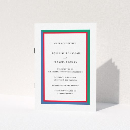 """A wedding program design named """"Simple Diagonal"""". It is an A5 booklet in a portrait orientation. """"Simple Diagonal"""" is available as a folded booklet booklet, with mainly green colouring."""