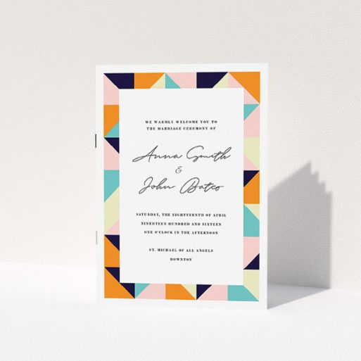 """A wedding program named """"Sloane Squares"""". It is an A5 booklet in a portrait orientation. """"Sloane Squares"""" is available as a folded booklet booklet, with mainly orange colouring."""