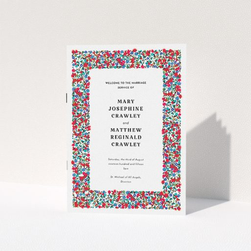"""A wedding program called """"Summer from a distance"""". It is an A5 booklet in a portrait orientation. """"Summer from a distance"""" is available as a folded booklet booklet, with tones of white and red."""