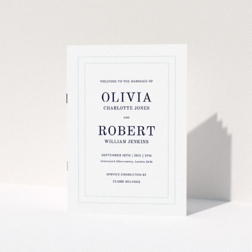 """A wedding program template titled """"Thick White Border Classic"""". It is an A5 booklet in a portrait orientation. """"Thick White Border Classic"""" is available as a folded booklet booklet, with tones of blue and white."""