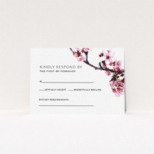 """A wedding response card design called """"A side of Blossom"""". It is an A7 card in a landscape orientation. """"A side of Blossom"""" is available as a flat card, with tones of pink and white."""