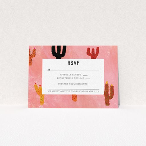"""A wedding response card design called """"Albuquerque"""". It is an A7 card in a landscape orientation. """"Albuquerque"""" is available as a flat card, with tones of pink and orange."""