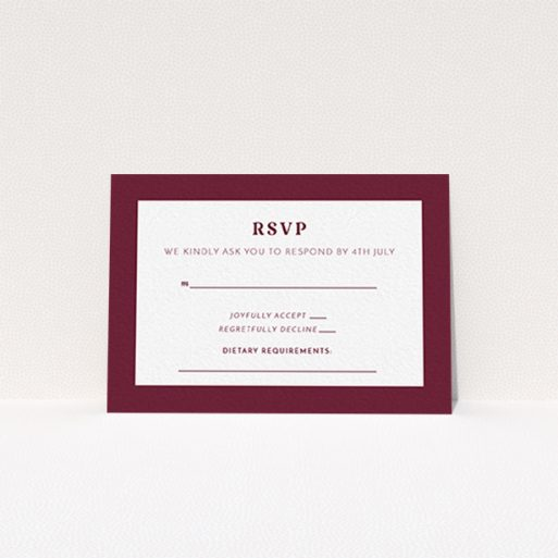 """A wedding response card design called """"Bold border"""". It is an A7 card in a landscape orientation. """"Bold border"""" is available as a flat card, with tones of burgundy and white."""