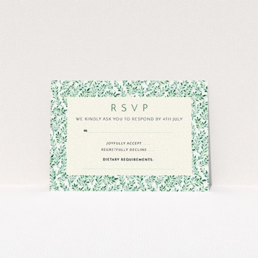 """A wedding response card template titled """"From the hedge"""". It is an A7 card in a landscape orientation. """"From the hedge"""" is available as a flat card, with mainly green colouring."""