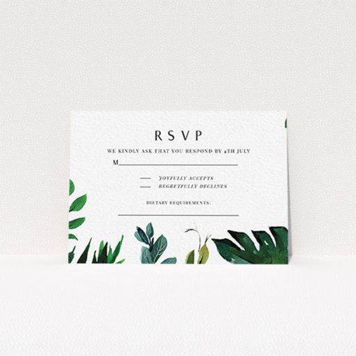 """A wedding response card design named """"Gap in the Jungle"""". It is an A7 card in a landscape orientation. """"Gap in the Jungle"""" is available as a flat card, with tones of green and white."""