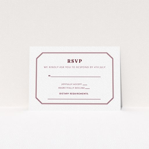 """A wedding response card template titled """"In between the lines square"""". It is an A7 card in a landscape orientation. """"In between the lines square"""" is available as a flat card, with tones of white and burgundy."""