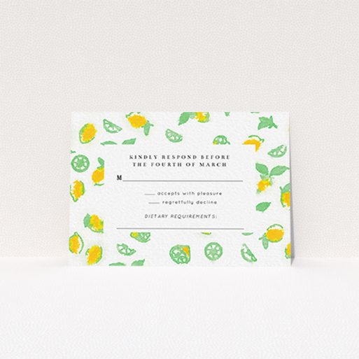 """A wedding response card design called """"Madeira"""". It is an A7 card in a landscape orientation. """"Madeira"""" is available as a flat card, with tones of green and yellow."""