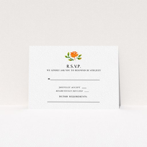 """A wedding response card template titled """"Midsummer Wreath"""". It is an A7 card in a landscape orientation. """"Midsummer Wreath"""" is available as a flat card, with tones of orange and green."""