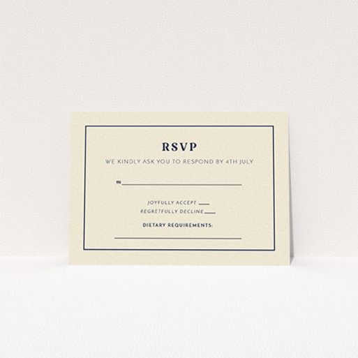 """A wedding response card named """"Nice and square"""". It is an A7 card in a landscape orientation. """"Nice and square"""" is available as a flat card, with tones of cream and navy blue."""