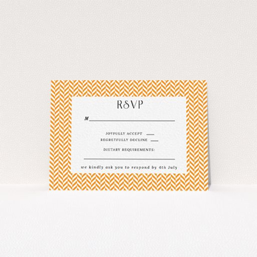 """A wedding response card called """"Orange Houndstooth"""". It is an A7 card in a landscape orientation. """"Orange Houndstooth"""" is available as a flat card, with tones of orange and white."""