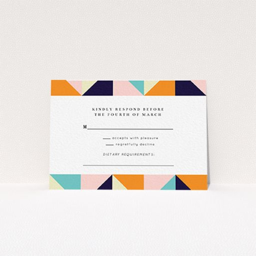 """A wedding response card called """"Sloane Squares"""". It is an A7 card in a landscape orientation. """"Sloane Squares"""" is available as a flat card, with mainly orange colouring."""