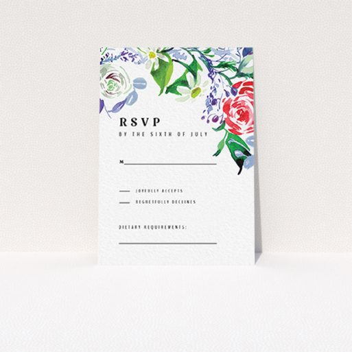 """A wedding response card design named """"The flowerbed"""". It is an A7 card in a portrait orientation. """"The flowerbed"""" is available as a flat card, with mainly green colouring."""