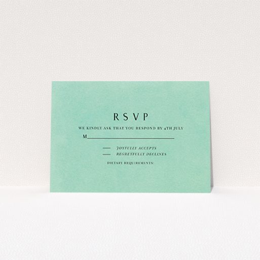 """A wedding response card design titled """"Worn Green"""". It is an A7 card in a landscape orientation. """"Worn Green"""" is available as a flat card, with mainly green colouring."""