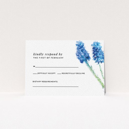 """A wedding rsvp card design named """"A new bloom"""". It is an A7 card in a landscape orientation. """"A new bloom"""" is available as a flat card, with tones of blue and white."""