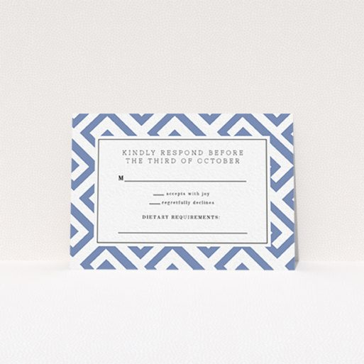 """A wedding rsvp card design titled """"Blue and white maze"""". It is an A7 card in a landscape orientation. """"Blue and white maze"""" is available as a flat card, with tones of blue and white."""
