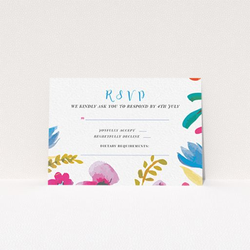 """A wedding rsvp card design called """"Botanical Pop"""". It is an A7 card in a landscape orientation. """"Botanical Pop"""" is available as a flat card, with tones of white and red."""