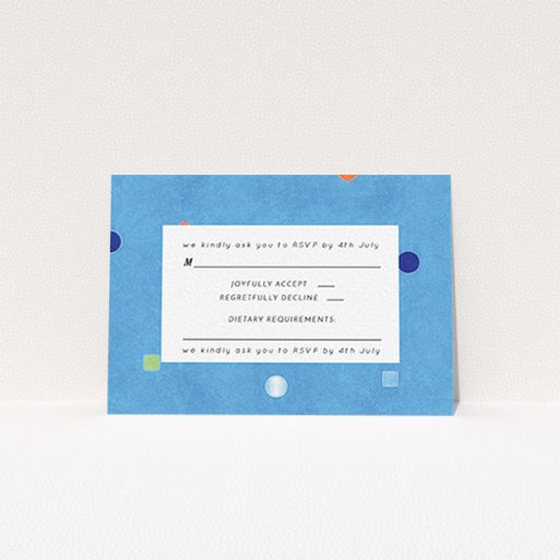 """A wedding rsvp card design titled """"Capri"""". It is an A7 card in a landscape orientation. """"Capri"""" is available as a flat card, with tones of blue and white."""