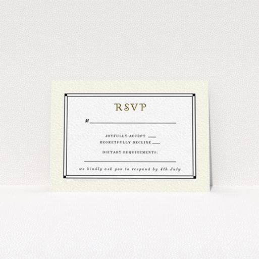 """A wedding rsvp card called """"Deco Cream"""". It is an A7 card in a landscape orientation. """"Deco Cream"""" is available as a flat card, with mainly cream colouring."""