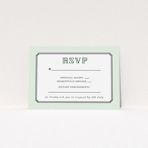 """A wedding rsvp card named """"Deco mint"""". It is an A7 card in a landscape orientation. """"Deco mint"""" is available as a flat card, with tones of green and white."""