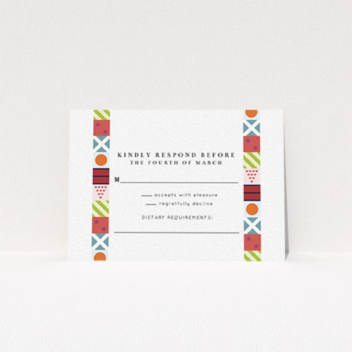 """A wedding rsvp card design titled """"Epsom"""". It is an A7 card in a landscape orientation. """"Epsom"""" is available as a flat card, with mainly red colouring."""